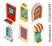 isometric doors and windows....   Shutterstock .eps vector #1116014699