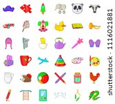 childcare icons set. cartoon... | Shutterstock . vector #1116021881