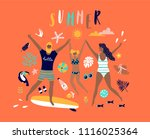 summer pop art illustration... | Shutterstock .eps vector #1116025364