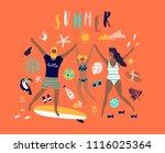 summer pop art illustration... | Shutterstock .eps vector #1116025364