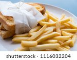 french fries and toast on white ... | Shutterstock . vector #1116032204