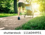 running woman with baby... | Shutterstock . vector #1116044951