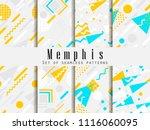 memphis seamless pattern.... | Shutterstock .eps vector #1116060095