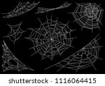 collection of cobweb  isolated... | Shutterstock .eps vector #1116064415