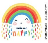cute happy rainbow illustration. | Shutterstock .eps vector #1116064994