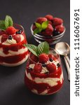 strawberry mascarpone mousse... | Shutterstock . vector #1116067691