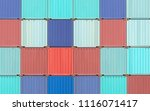 colorful stack of container... | Shutterstock . vector #1116071417