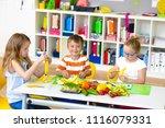 at school   students prepare... | Shutterstock . vector #1116079331