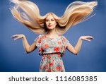 beautiful young blonde woman in ... | Shutterstock . vector #1116085385