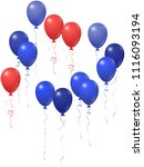 red and blue balloons group...   Shutterstock .eps vector #1116093194