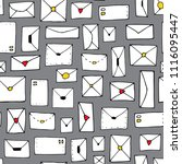 seamless pattern with envelopes ... | Shutterstock .eps vector #1116095447