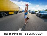 acrobatic hand stand girl in a... | Shutterstock . vector #1116099329