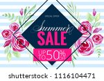 summer hot sale poster with... | Shutterstock . vector #1116104471