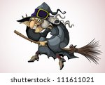 witch flying on a broom | Shutterstock .eps vector #111611021