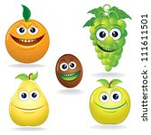 set of funny vector fruits.... | Shutterstock .eps vector #111611501