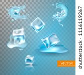 water splashing and ice cube... | Shutterstock .eps vector #1116119267