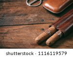 cuban cigars in a leather case... | Shutterstock . vector #1116119579