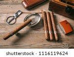 cuban cigars and smoking... | Shutterstock . vector #1116119624