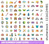 100 summer camp icons set.... | Shutterstock . vector #1116124481