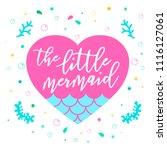 little mermaid with heart.... | Shutterstock .eps vector #1116127061