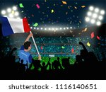 supporter hold france flag... | Shutterstock .eps vector #1116140651