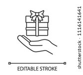 present linear icon. open hand... | Shutterstock .eps vector #1116141641