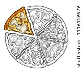 slices of pizza. margarita ... | Shutterstock .eps vector #1116159629