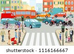 road junction with people and... | Shutterstock .eps vector #1116166667