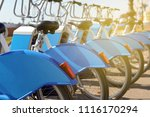 bicycles for rent. a number of... | Shutterstock . vector #1116170294