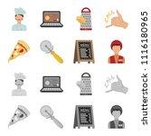 a pizza cutter  a slice  a menu ... | Shutterstock .eps vector #1116180965