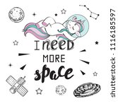 cute funny unicorn in space and ... | Shutterstock .eps vector #1116185597