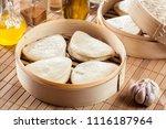 gua bao  steamed buns in bamboo ...   Shutterstock . vector #1116187964
