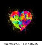 Paint Splatter Heart. Vector...