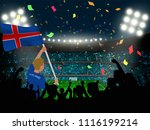 supporter hold iceland flag... | Shutterstock .eps vector #1116199214