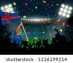 supporter hold iceland flag... | Shutterstock .eps vector #1116199214