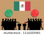 mexican voters crowd silhouette ... | Shutterstock .eps vector #1116205481