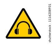 ear protection sign  mandatory... | Shutterstock .eps vector #1116208931