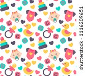 baby shower seamless pattern.... | Shutterstock .eps vector #1116209651