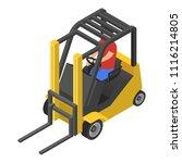 forklift icon. isometric of... | Shutterstock .eps vector #1116214805