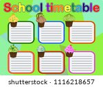 template school timetable for... | Shutterstock .eps vector #1116218657
