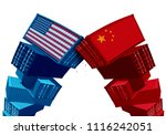 us china tariff dispute trade... | Shutterstock . vector #1116242051