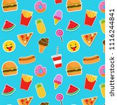 fast food icons and stickers.... | Shutterstock .eps vector #1116244841