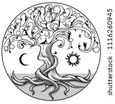 tree of life with sun and moon... | Shutterstock .eps vector #1116260945