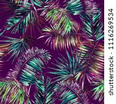 tropical floral pattern palm... | Shutterstock . vector #1116269534