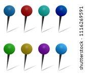 set of thumbtacks in round...   Shutterstock .eps vector #1116269591