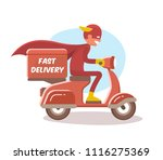 fast delivery  the boy in a...   Shutterstock .eps vector #1116275369