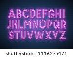 realistic neon font. vector... | Shutterstock .eps vector #1116275471