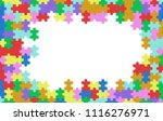 colorful jigsaw puzzle blank... | Shutterstock . vector #1116276971