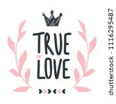 vector greeting card. true love.... | Shutterstock .eps vector #1116295487