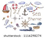 watercolor sea theme set | Shutterstock . vector #1116298274